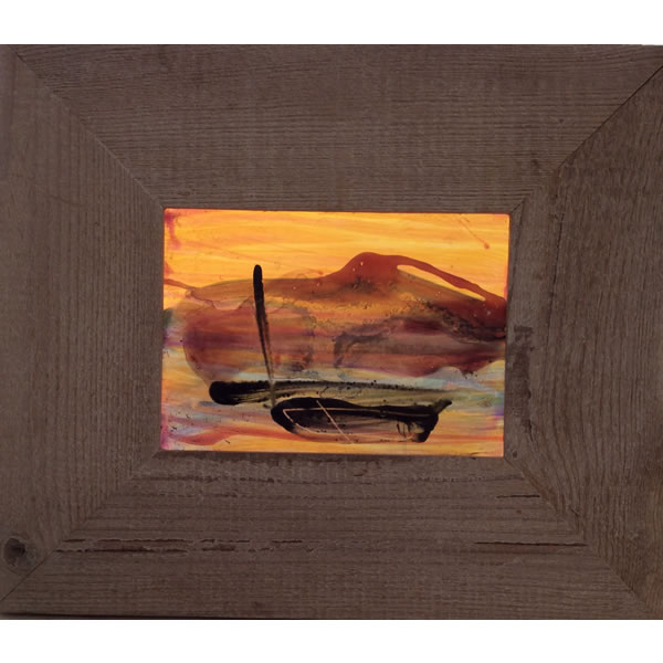 Boat and Hill - Painted stained glass with silver stain.