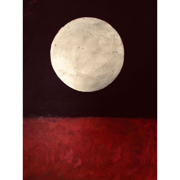 Outback moonrise - Oil on canvas with lemon gold leaf