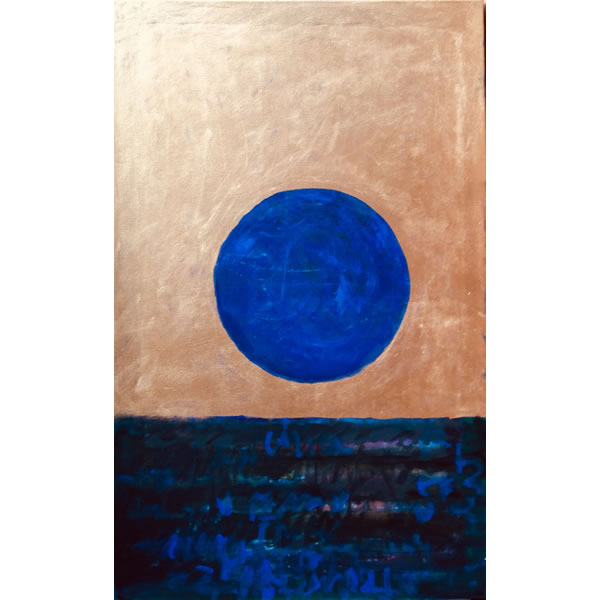 Blue moon rising - Oil on canvas with gold ink