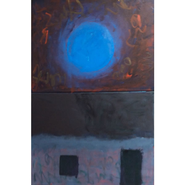 Blue moon over Georgia's - Oil on canvas diptych