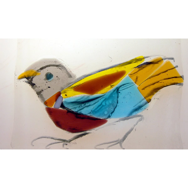 Chinese Pigeon - Fused glass tile