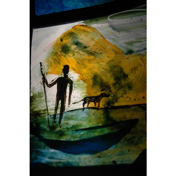 Ferryman - Painted and silver stained glass panel